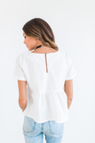 White Embroidered Babydoll Blouse