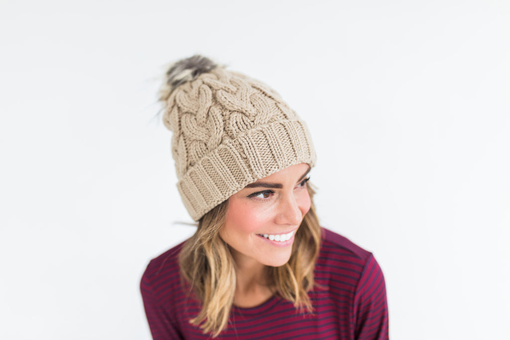 Knit Pom Beanie in Tan