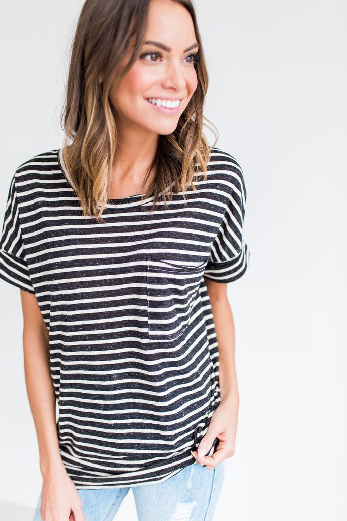 Felicity Striped Top in Black