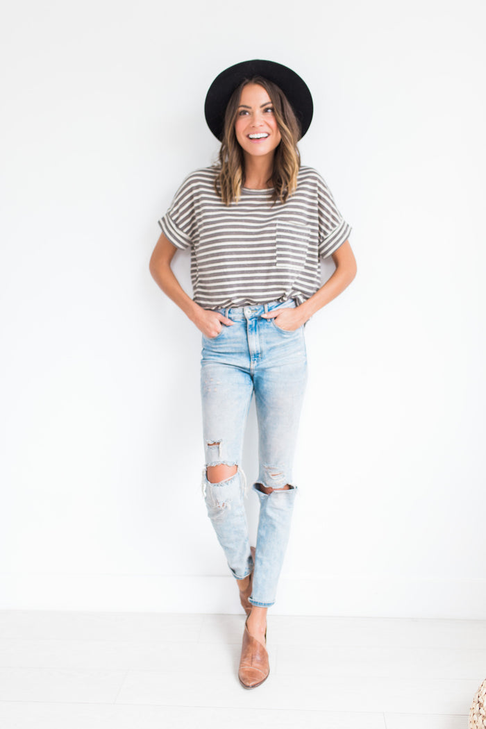 Felicity Striped Top in Charcoal