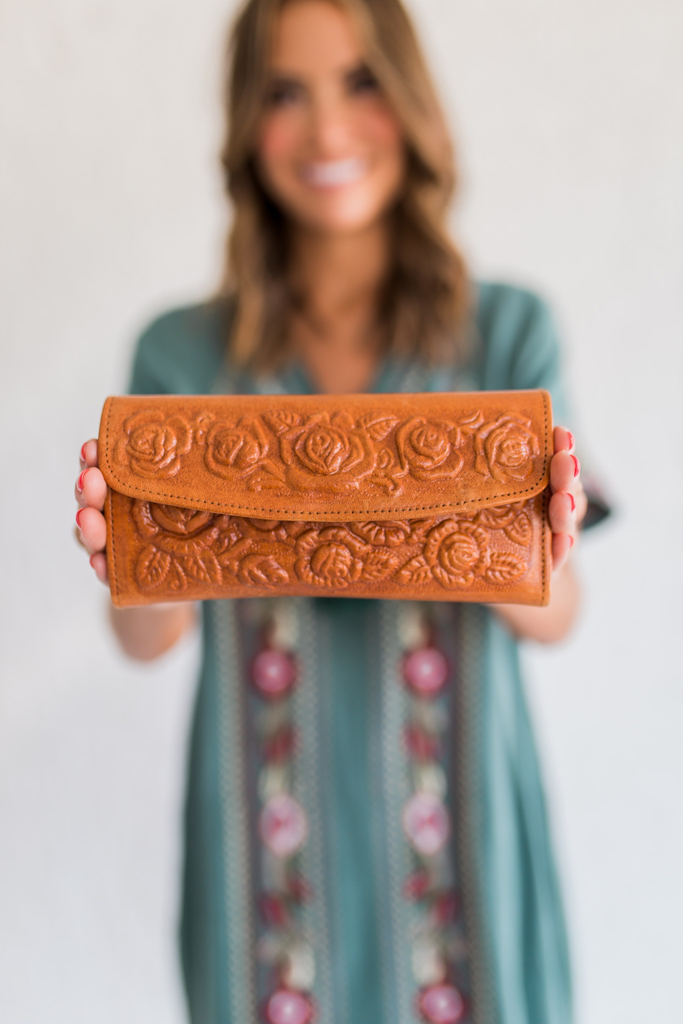 Floral Genuine Leather Wallet