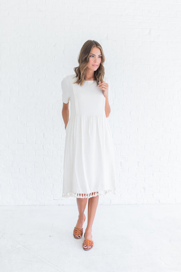 Linen Elena Dress in Oatmeal
