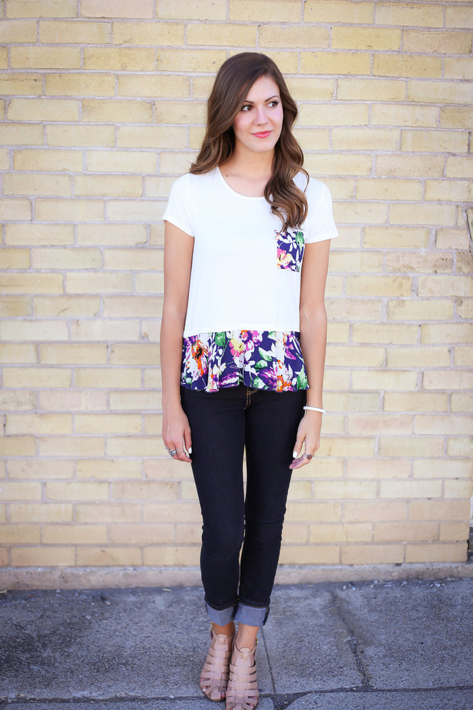 Floral Ruffle Top - Framed in Jade