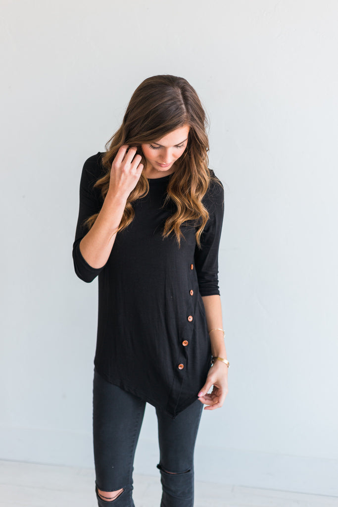 Black Button Top - Framed in Jade
