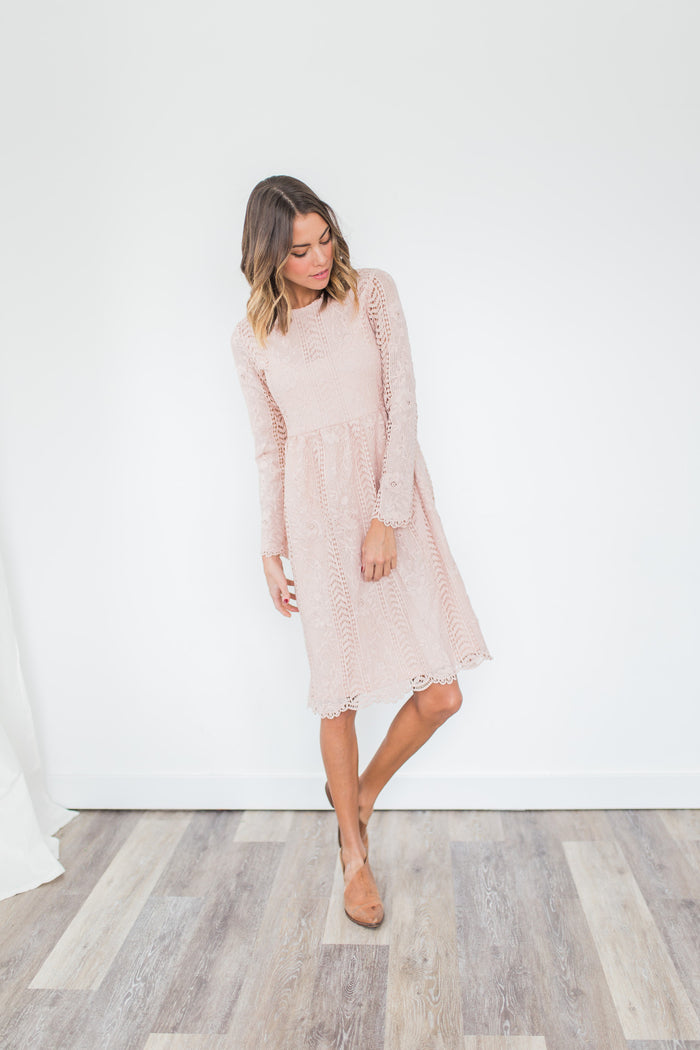 Niya Lace Dress in Blush