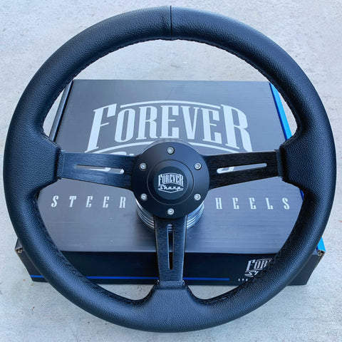"14"" Black Chrome Classic - Black Leather Full Wrap"