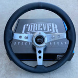 "14"" Brushed Aluminum Sebring Flat - Black Leather"