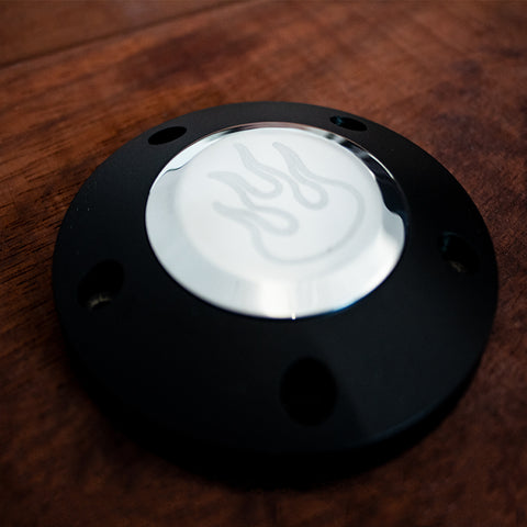 Black Billet Horn Button - 5 Hole Flame (LIMITED TIME ONLY)