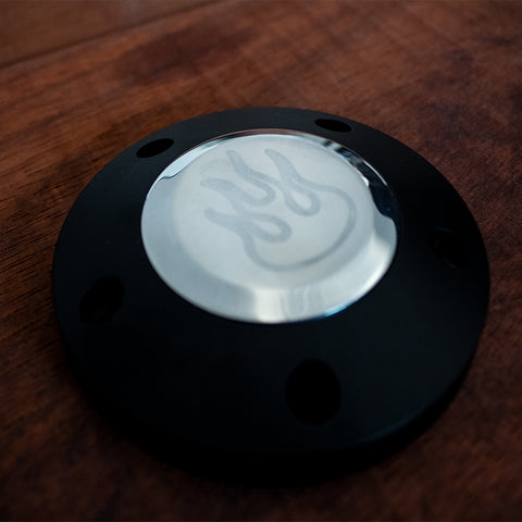 Black Billet Horn Button - 6 Hole Flame (LIMITED TIME ONLY)