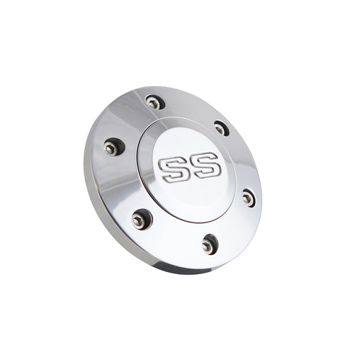 Polished Billet SS Horn Button - 6 Hole