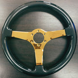 "FACTORY 2ND: 14"" Jet Blue Gold Chrome Steering Wheel - Arcade GBLK"