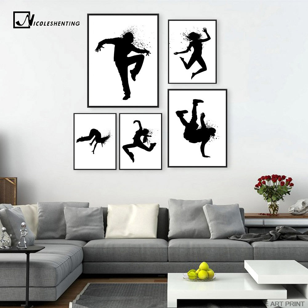 Girl Music Hip Hop Street Dance Minimalist Art Canvas Poster Painting Black White Wall Picture Modern Kids Room Decoration C431