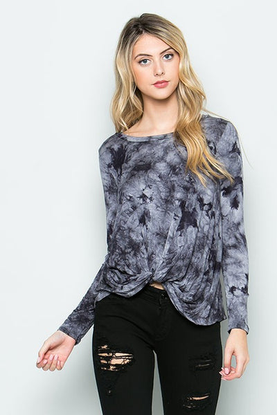 Long Sleeve Knot Tie Dye Top