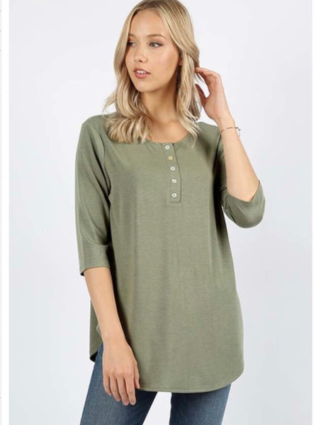 Henley Top (Light Olive)