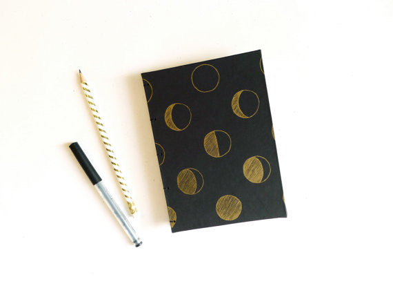 Gold Moon Phase Handbound Journal by Middle Dune