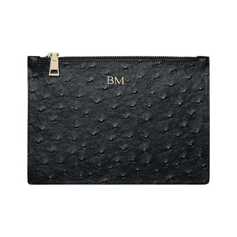 BLACK GOLD ZIP OSTRICH POUCH
