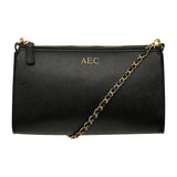 SOLD OUT - BLACK CROSS BODY LONG BAG - LEATHER GOLD CHAIN