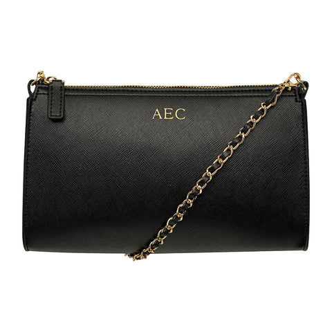BLACK CROSS BODY LONG BAG - LEATHER GOLD CHAIN