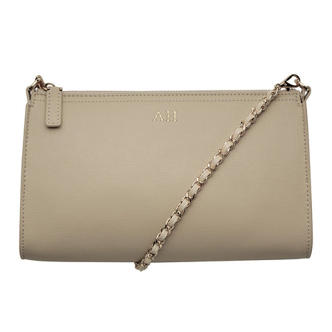 TAUPE CROSS BODY LONG BAG - LEATHER GOLD CHAIN