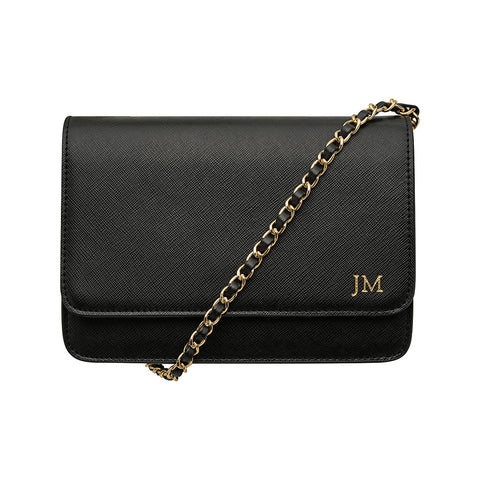 SOLD OUT - BLACK CROSS BODY CLASSIC CHAIN BAG - SILVER HARDWARE