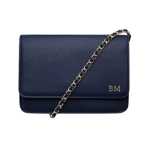 NAVY BLUE CROSS BODY CLASSIC CHAIN BAG