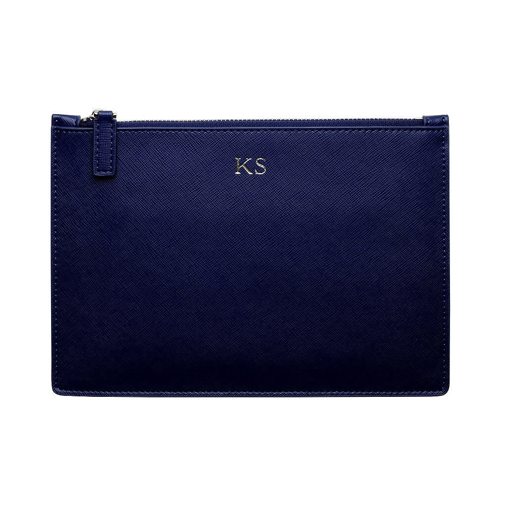 NAVY BLUE SILVER ZIP POUCH