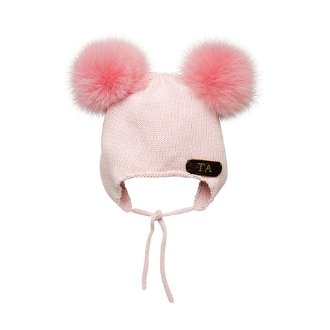 Sold out - back in stock next Friday - BABY PINK COTTON HAT WITH SOFT REAL FUR RACCOON POM POMS