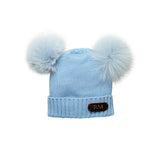BABY BLUE COTTON HAT WITH SOFT REAL FUR RACCOON POM POMS