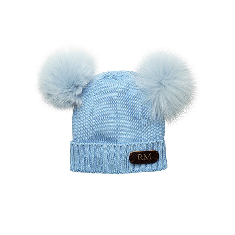SOLD OUT - BABY BLUE COTTON HAT WITH SOFT REAL FUR RACCOON POM POMS