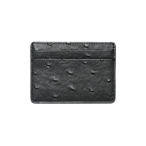 SOLD OUT - BLACK 5 SLOT CARD HOLDER - OSTRICH PRINT