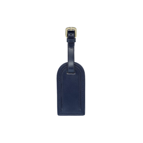 NAVY BLUE LUGGAGE TAG WITH GOLD HARDWARE