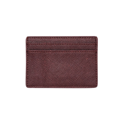 BURGUNDY 5 SLOT CARD HOLDER - SAFFIANO LEATHER
