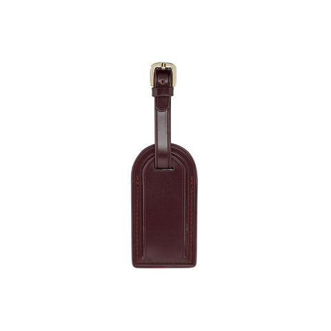BURGUNDY LUGGAGE TAG WITH SILVER HARDWARE