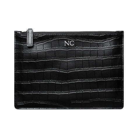 MATTE BLACK WITH SILVER ZIP CROCODILE PRINT POUCH