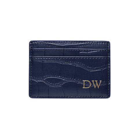 NAVY BLUE 5 SLOT CARD HOLDER - CROCODILE PRINT