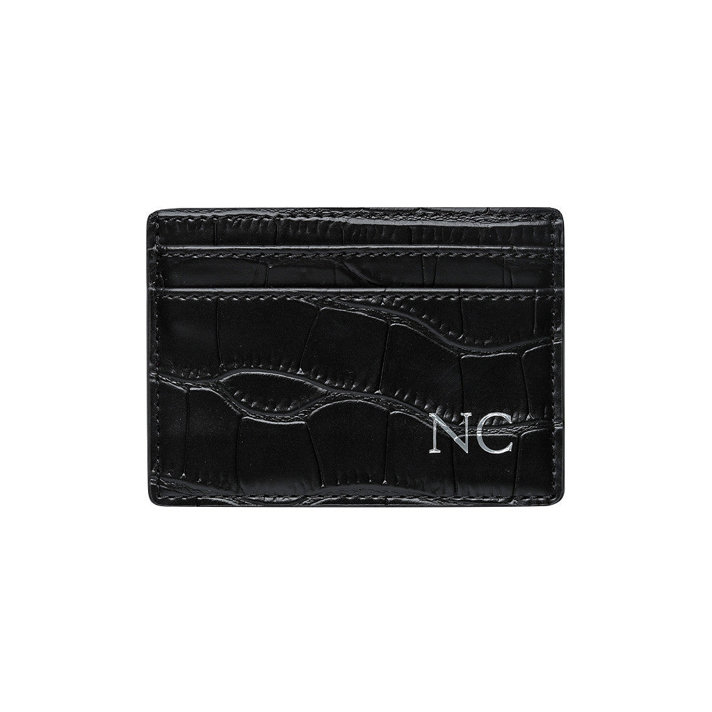 BLACK 5 SLOT CARD HOLDER - CROCODILE PRINT