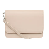TAUPE CROSS BODY CLASSIC LEATHER STRAP - Silver hardware