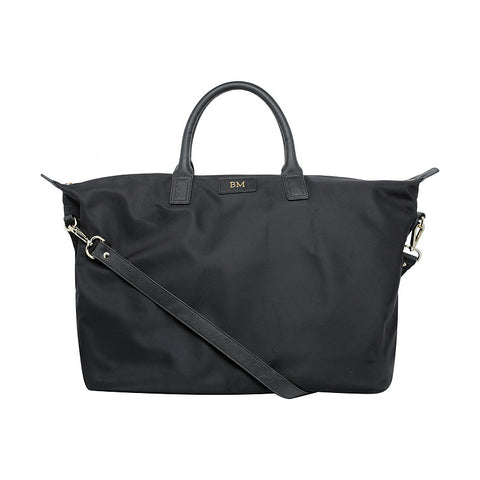 SOLD OUT - BLACK OVERNIGHT BAG GOLD HARDWARE