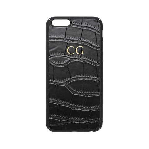BLACK CROCODILE PRINT IPHONE COVER 6, 6s & 7