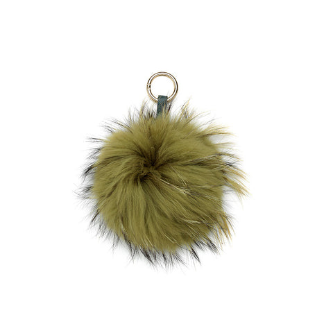 OLIVE GREEN POM POM FOX FUR  KEY RING