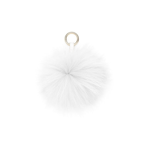 SNOW WHITE POM POM FOX FUR  KEY RING