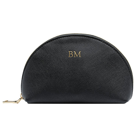 BLACK MEDIUM ARCH COSMETIC CASE - GOLD ZIPS