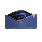 BRIGHT BLUE MEDIUM GOLD  ZIP POUCH