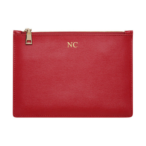 RED MEDIUM GOLD ZIP POUCH
