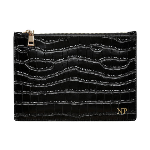 SOLD OUT - GLOSS BLACK GOLD ZIP CROCODILE PRINT POUCH