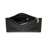 GLOSS BLACK GOLD ZIP CROCODILE PRINT POUCH