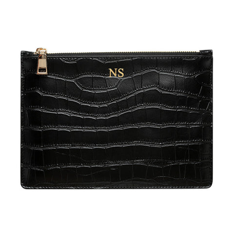 MATTE BLACK GOLD ZIP CROCODILE PRINT POUCH