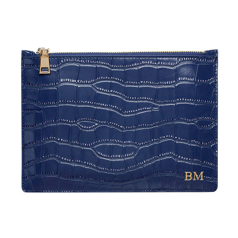 SOLD OUT - GLOSS NAVY GOLD ZIP CROCODILE PRINT POUCH
