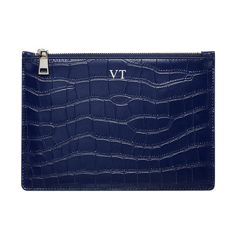 SOLD OUT - MATTE NAVY BLUE SILVER ZIP CROCODILE PRINT POUCH - Back soon