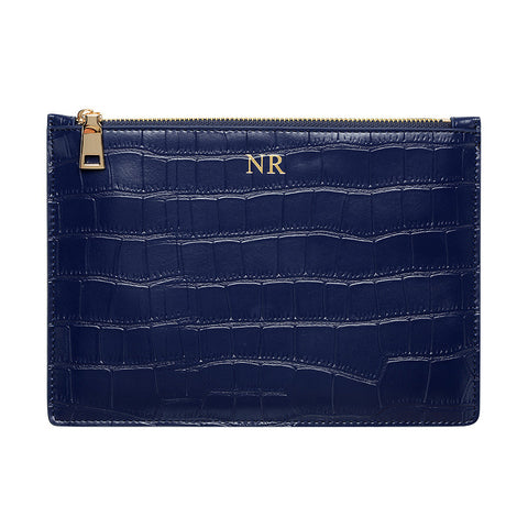 MATTE NAVY GOLD ZIP CROCODILE PRINT POUCH